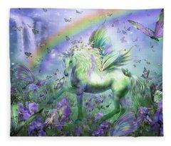 Unicorn Of The Butterflies Fleece Blanket