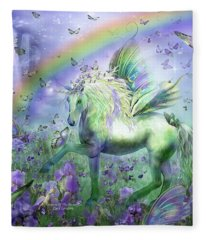 Unicorn Of The Butterflies Fleece Blanket