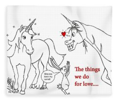 Unicorn Valentines Card Fleece Blanket