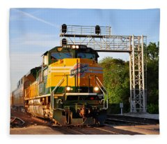 Union Pacific Chicago And North Western Heritage Unit Fleece Blanket