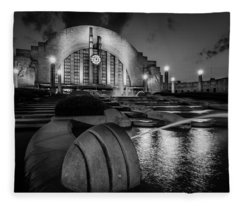 Union Terminal At Night Fleece Blanket