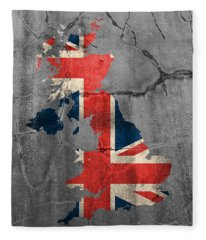 United Kingdom Uk Union Jack Flag Country Outline Painted On Old Cracked Cement Fleece Blanket