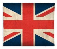 United Kingdom Union Jack England Britain Flag Vintage Distressed Finish Fleece Blanket