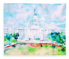 United States Capitol - Watercolor Portrait Fleece Blanket