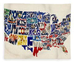 United States Flags Map Fleece Blanket