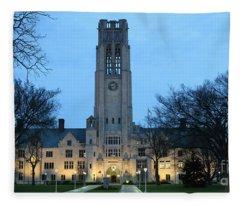 University Hall At Night 5047 Fleece Blanket