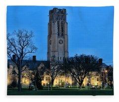 University Hall At Night 5053 Fleece Blanket