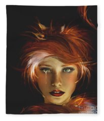 Untamed The Redhead And The Fox Fleece Blanket