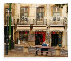Lisbon Street Scene Fleece Blanket