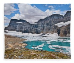 Upper Grinnell Lake And Glacier Fleece Blanket