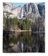 Upper Yosemite Fall Fleece Blanket