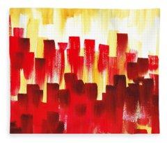 Urban Abstract Red City Lights Fleece Blanket