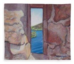 Archers' Window Urquhart Ruins Loch Ness Fleece Blanket