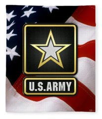 U. S. Army Logo Over American Flag. Fleece Blanket