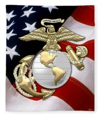 U. S. Marine Corps - U S M C Eagle Globe And Anchor Over American Flag. Fleece Blanket