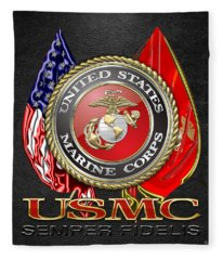 U. S. Marine Corps U S M C Emblem On Black Fleece Blanket