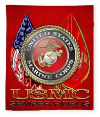 U. S. Marine Corps U S M C Emblem On Red Fleece Blanket