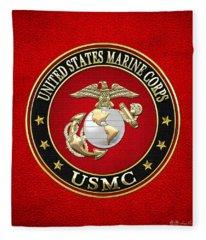 U. S. Marine Corps - U S M C Emblem Special Edition Fleece Blanket