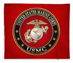 Military Insignia Digital Art Fleece Blankets