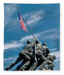 Us Marine Corps War Memorial Fleece Blanket