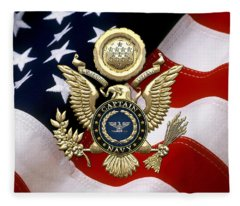 U. S.  Navy Captain - C A P T  Rank Insignia Over Gold Great Seal Eagle And Flag Fleece Blanket