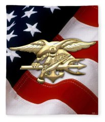 U. S. Navy S E A Ls Emblem Over American Flag Fleece Blanket
