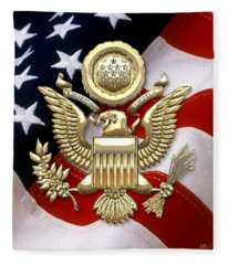 U. S. A. Great Seal In Gold Over American Flag  Fleece Blanket