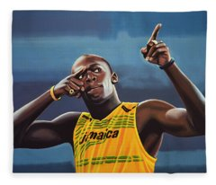Usain Bolt Painting Fleece Blanket