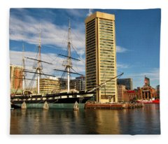 U.s.s. Constellation In Baltimore's Inner Harbor Fleece Blanket