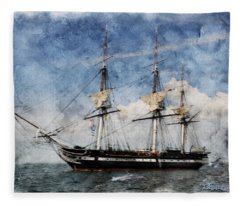Uss Constitution On Canvas - Featured In 'manufactured Objects' Group Fleece Blanket