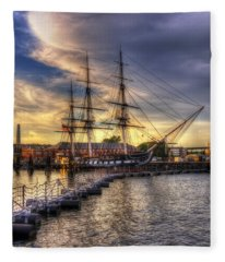 Uss Constitution Sunset - Boston Fleece Blanket
