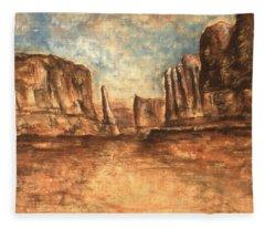 Utah Red Rocks - Landscape Art Painting Fleece Blanket