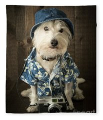 Fleece Blanket featuring the photograph Vacation Dog by Edward Fielding