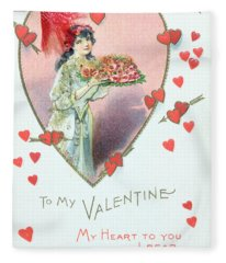 Valentine Card Fleece Blanket