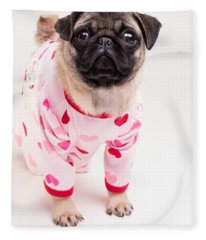Valentine's Day - Adorable Pug Puppy In Pajamas Fleece Blanket