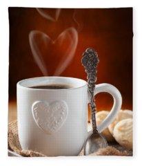 Valentine's Day Coffee Fleece Blanket