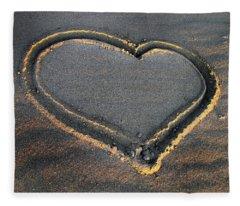 Valentine's Day - Sand Heart Fleece Blanket