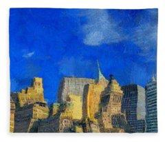 Van Gogh Meets Manhattan Fleece Blanket