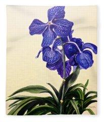 Vanda Sausai Blue Orchid Fleece Blanket