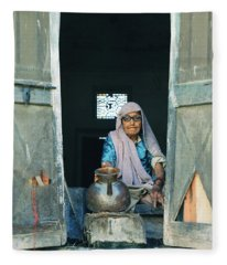Varanasi Water Seller Fleece Blanket