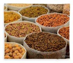 Variety Of Raw Nuts For Sale At Outdoor Street Market Karachi Pakistan Fleece Blanket