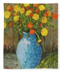 Vase Of Marigolds Fleece Blanket