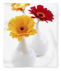 Vases With Gerbera Flowers Fleece Blanket