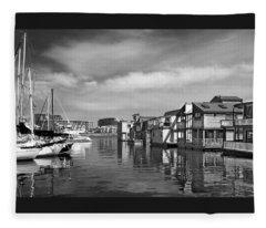 Veiw Of Marina In Victoria British Columbia Black And White Fleece Blanket