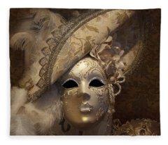 Venetian Face Mask F Fleece Blanket