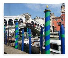 Venice Italy Ponte Di Rialto  Fleece Blanket
