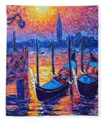 Venice Mysterious Light - Gondolas And San Giorgio Maggiore Seen From Plaza San Marco Fleece Blanket
