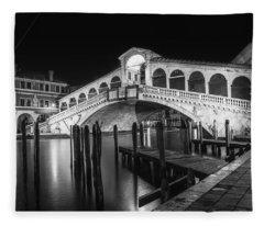 Venice Rialto Bridge At Night Black And White Fleece Blanket