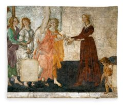 Venus And The Three Graces Offering Presents To A Young Girl Fleece Blanket