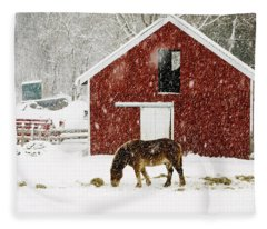 Fleece Blanket featuring the photograph Vermont Christmas Eve Snowstorm by Edward Fielding